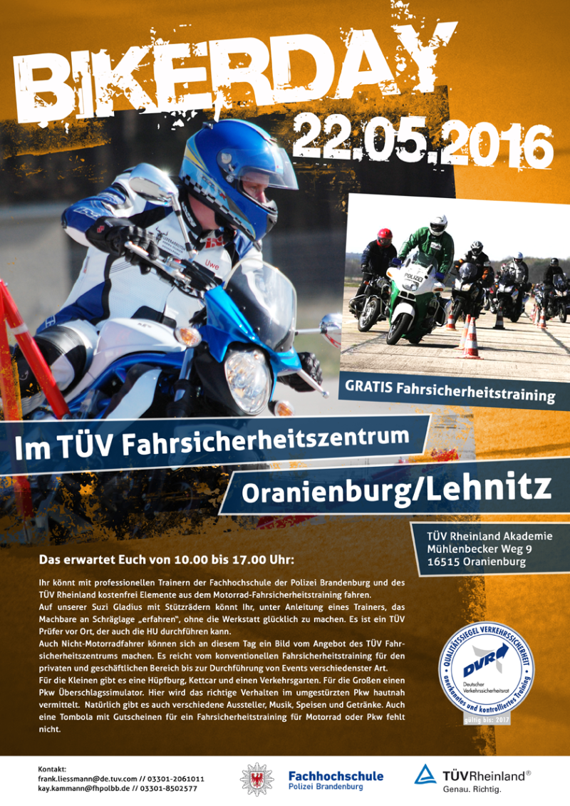 bikerday 2016 de t v rheinland. Black Bedroom Furniture Sets. Home Design Ideas