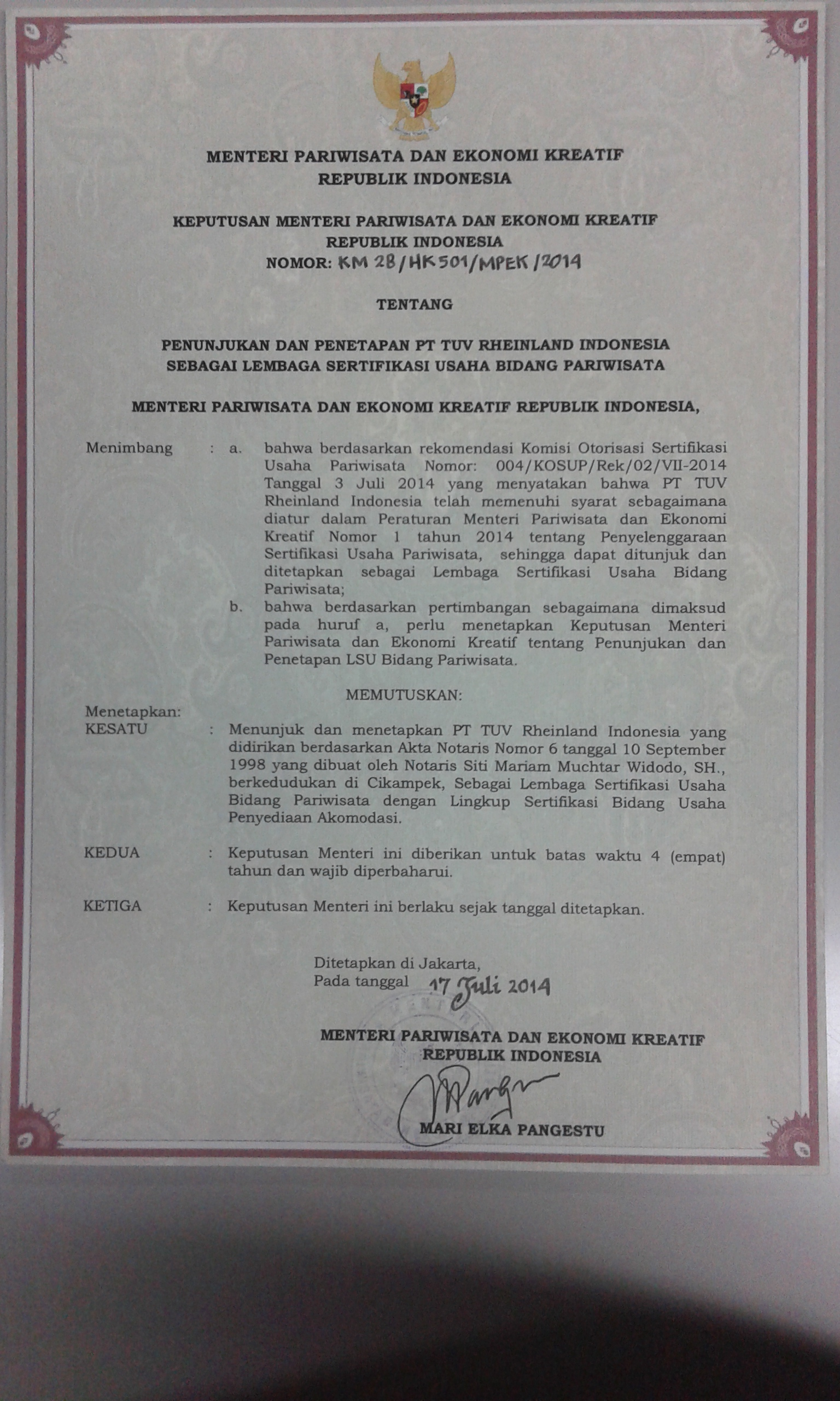 Pt tuv rheinland indonesia is a recognized certification body for certificate of pt tuv rheinland indonesia as certification body of tourism industry jpg 127 mb 1betcityfo Image collections